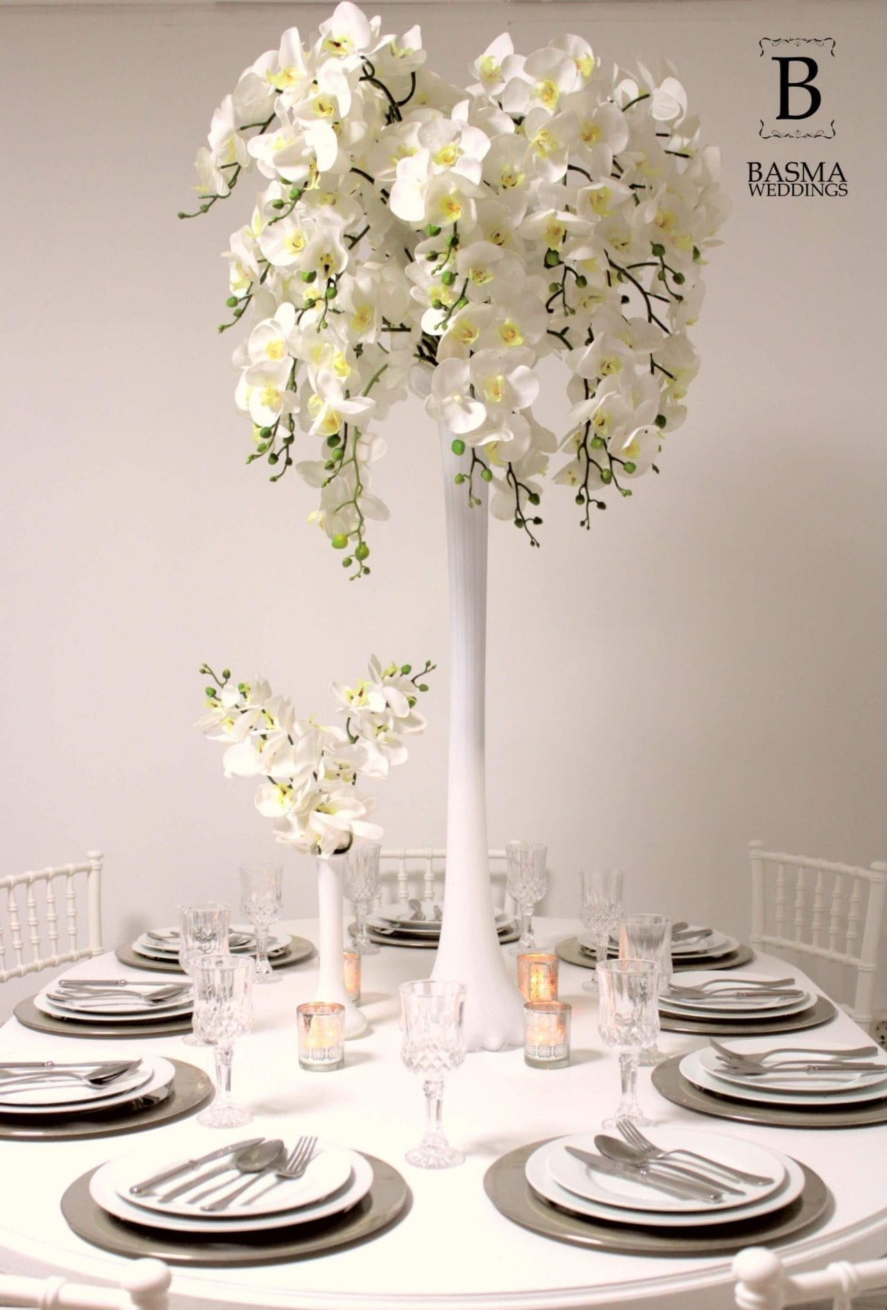 Candles roses setup pink Orchid tree flowers